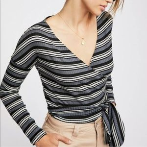FREE PEOPLE Always With Me Striped Wrap Top